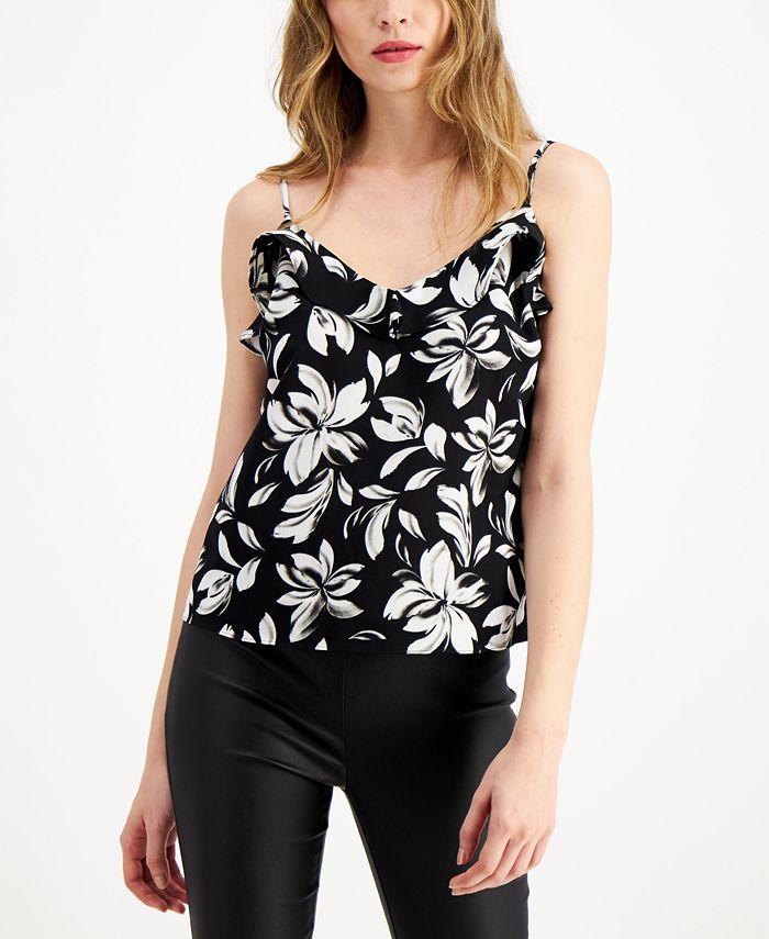 Bar III - Floral-Print Ruffled Camisole