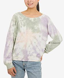 Hippie Rose Juniors' Tie-Dye Long-Sleeved Sweatshirt