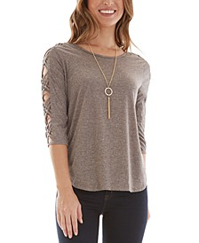 Juniors' Lattice-Trimmed Top with Necklace
