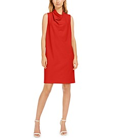 Cowlneck Crepe Shift Dress