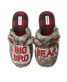 Men's Furry Uncle or Big Bro Bear Scuff Matching Family Slippers