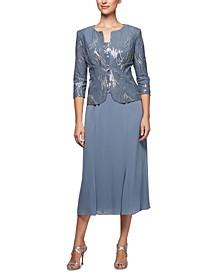 2-Pc. Embellished Jacket & A-Line Dress Set