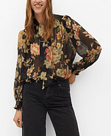 MANGO Women's Tie-Neck Blouse