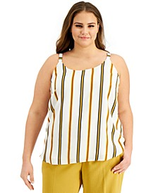 Trendy Plus Size Striped Tank Top, Created for Macy's