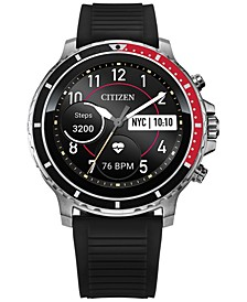 Men's CZ Smart HR Black Silicone Strap Touchscreen Smart Watch 46mm