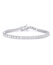 """Cubic Zirconia """"S"""" Link Bracelet in Fine Silver Plate"""