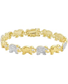 Diamond Accent Elephant Link Bracelet in Fine Silver Plate or Gold Plate