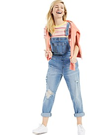 Petite Distressed Denim Overalls, Created for Macy's