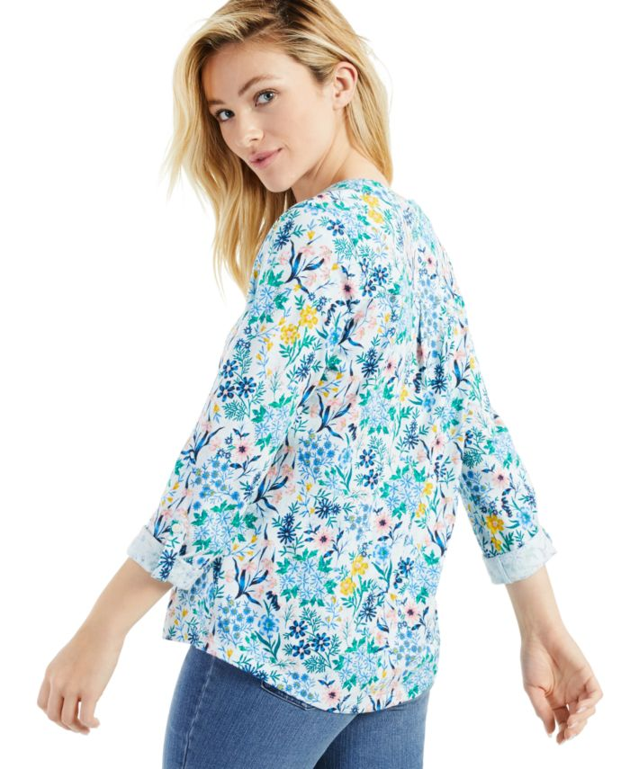 Style & Co Cotton Ditsy-Print Henley Top, Created for Macy's & Reviews - Tops - Women - Macy's