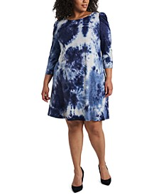 Plus Size Tie-Dyed Shift Dress