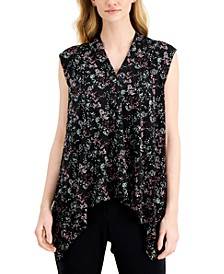 Printed Asymmetrical-Hem Sleeveless Top, Created for Macy's