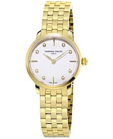 Women's Swiss Mini Slimline Diamond-Accent Gold-Tone Stainless Steel Bracelet Watch 25mm