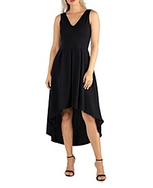 Women's Sleeveless Fit and Flare High Low Dress