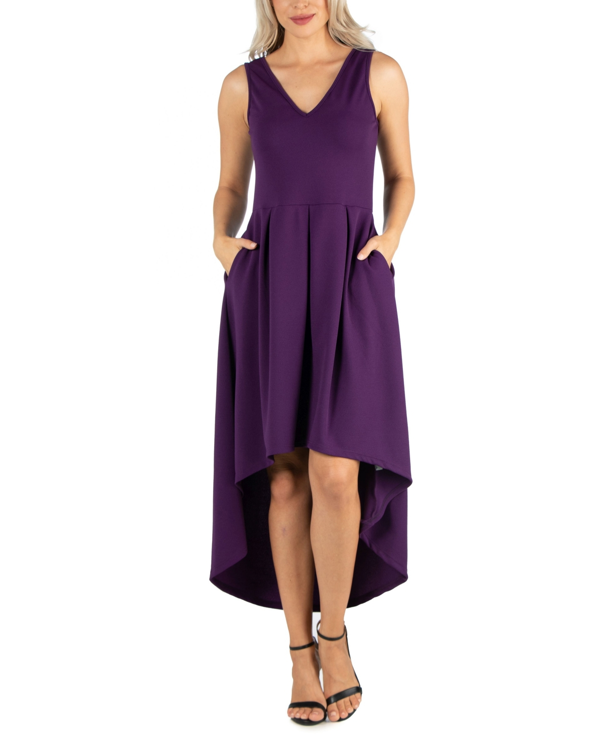 Womens Sleeveless Fit and Flare High Low Dress