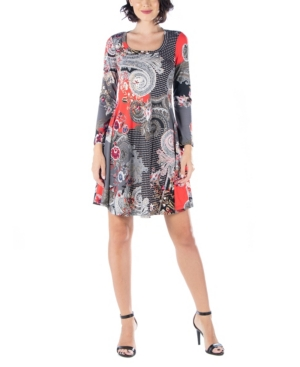 Womens Simple Paisley Print Long Sleeve Flared Dress