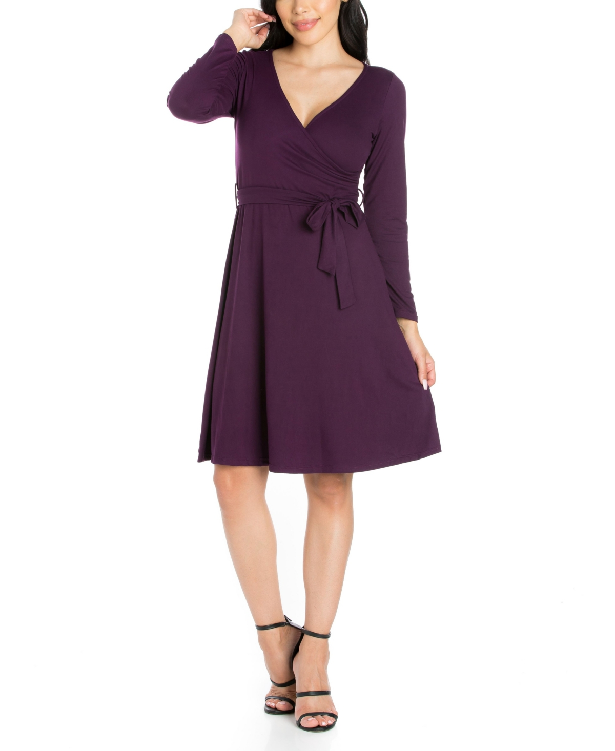 Womens Chic V-Neck Long Sleeve Belted Dress