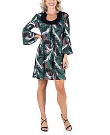 Women's Feather Print Bell Sleeve Dress