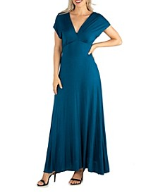 Women's Cap Sleeve V-Neck Maxi Dress