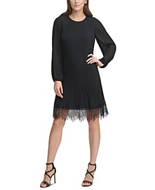 Pleated Lace-Trim Dress