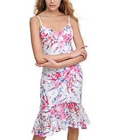 Printed Lace Bodycon Dress