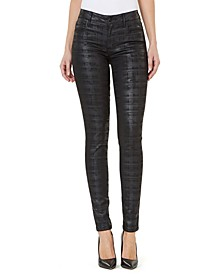 Mid-Rise Coated Check-Print Skinny Jeans