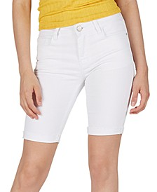 Mid-Rise Frayed Rolled-Hem Denim Bermuda Shorts