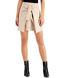 Faux-Leather Tie-Front Skirt, Created for Macy's