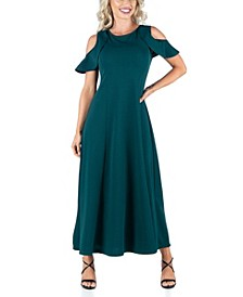Women's Ruffle Cold Shoulder A-Line Maxi Dress