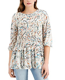 Printed Ruffled Ruched Top