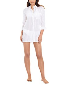 Lauren by Ralph Lauren Cotton Striped Camp Shirt Swim Cover-Up