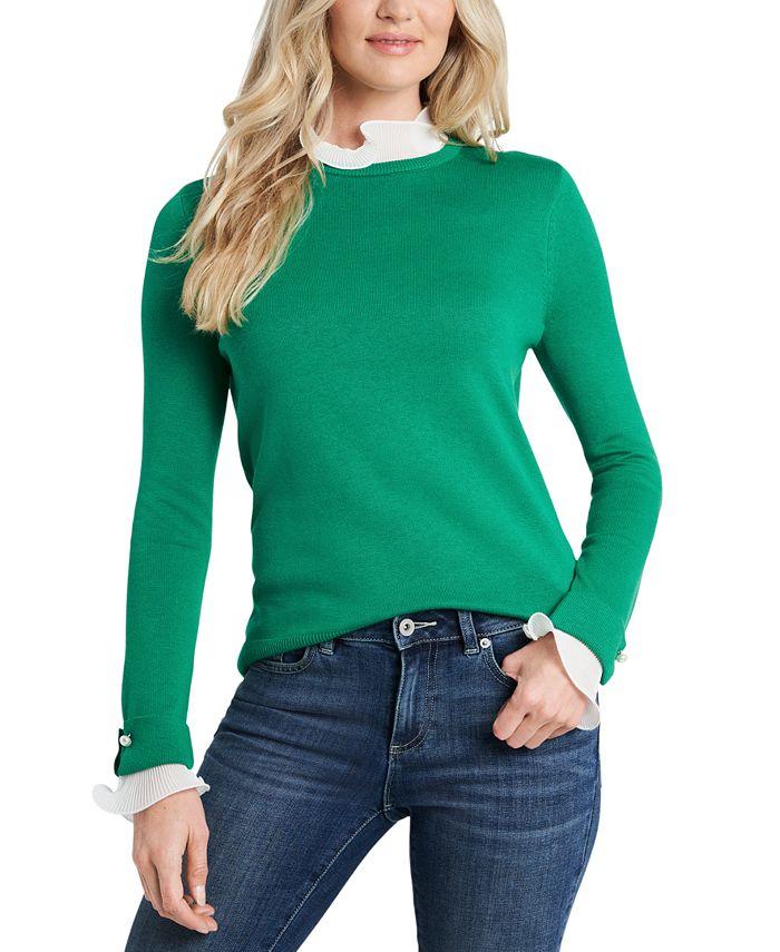 CeCe - Embellished Contrast Sweater