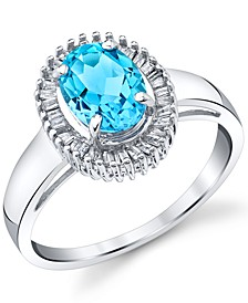 Blue Topaz (1-5/8 ct. t.w.) & Diamond (1/6 ct. t.w.) Baguette Halo Statement Ring in 14k White Gold