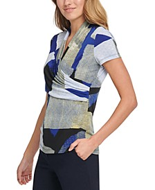 Abstract Side Ruched Blouse