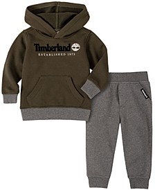 Little Boys Fleece Pullover Hoody with Fleece Pant Set, 2 Piece