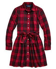 Little Girls Plaid Cotton Twill Shirt Dress