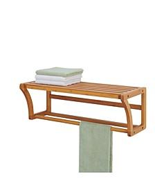 Bamboo Wall Mounted Shelf with Towel Bar