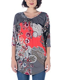 Women's Plus Three Quarter Sleeve Paisley Print Long Tunic Top