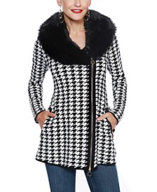 Black Label Houndstooth Faux Fur Collar Sweater Jacket