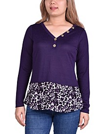 Women's Hacci Top with Printed Hem Inset