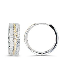 Cubic Zirconia Two-Tone Hammered and Rope Design Center Hoop Earrings