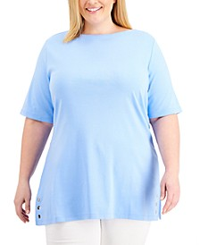 Plus Size Embellished-Hem Top, Created for Macy's