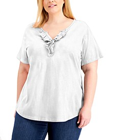 Plus Size Ruffled Henley Top, Created for Macy's