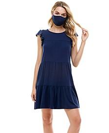 Juniors' Fit & Flare Dress & Face Mask