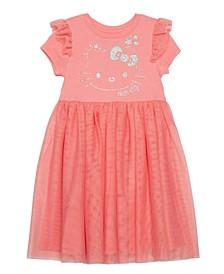 Little Girls Hello Kitty Star Dress with Mesh Skirt