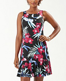 Midnight Orchid High-Neck Cover-Up Dress