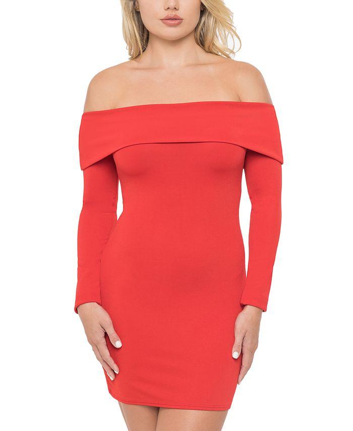 B Darlin - Juniors' Off-The-Shoulder Dress