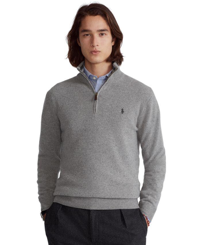 Polo Ralph Lauren Men's Cashmere Blend Quarter-Zip Sweater & Reviews - Sweaters - Men - Macy's