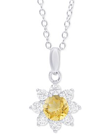 """Citrine (3/8 ct. t.w.) & Cubic Zirconia Flower 18"""" Pendant Necklace in Sterling Silver"""