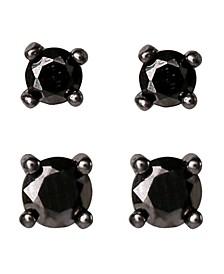 Black Cubic Zirconia 4-Piece Stud Earrings Set in Sterling Silver