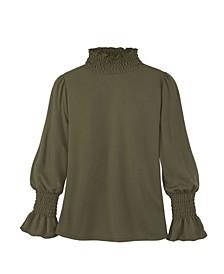 Women's Long Sleeve Smocked Turtleneck
